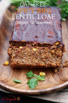 Oat-Free Spicy BBQ Lentil Loaf. NON-mushy + with a secret ingredient that makes it sturdy + hearty. Bursting with barbecue flavour + is gluten-free, nut-free + oil-free! By http://TheVegan8.com