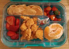 14 yr old's lunch: Popcorn chicken, oranges, strawberries, baked chips, & gushers fruit snacks.