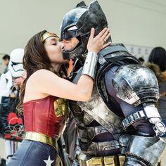 Wonder Woman Kissing Batman at WonderCon 2016 -see more of my photos at www.flickr.com/sdoorly