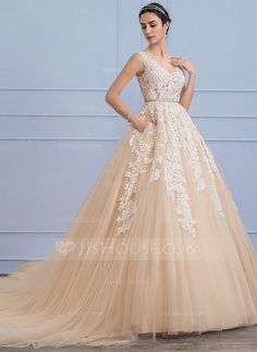 [US$ 267.49] Ball-Gown Scoop Neck Cathedral Train Tulle Lace Wedding Dress With Beading (002107826)
