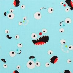 turquoise monster eyes fabric Camelot Monster Mash