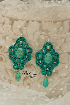 Turquoise soutache earrings Large turquoise earrings Soutache jewelry Boho jewelry