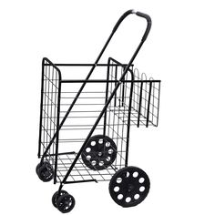 Folding Shopping Cart Jumbo Size Basket with Wheels for Laundry Grocery Travel | eBay