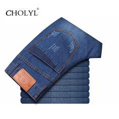 2017 Nuevo Estilo de Los Hombres Pantalones Vaqueros Rectos del Dril de algodón Ocasional Diseño Biker Jeans Azul Barato de China Marca de Ropa Jeans homme de Niebla masculin