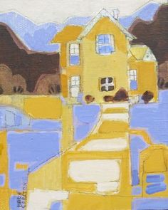 """Yellow & Blue House by Mary Carlton, acrylic, framed, 8"""" by 10"""""""