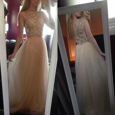 Sheer Beaded Prom Dresses Jewel A line Tulle Backless Diamonds Party Dress Formal Evening Gowns