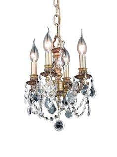 Crystal Lighting Lillie 4-Light Mini Chandelier, French Gold