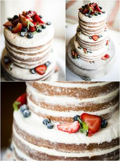 Naked wedding cake. Unfrosted nude cake. Fresh berries.    {A Raleigh, NC Wedding Photographer}