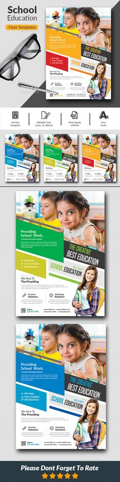 Buy School Education Flyer Templates by afjamaal on GraphicRiver. This flyer is made in photoshop the files included are help file and photoshop psd'.