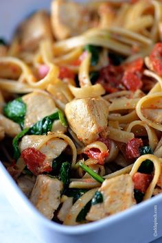 Chicken Pasta -This pasta dish is so QUICK and simple, yet absolutely delicious! A family favorite that I make so often! //©addapinch.com