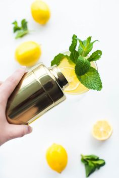 Super excited to share one of our latest favorites, sparkling mint meyer lemonade! The perfect refreshing touch to any party or night in. Cocktails For Parties, Summer Drinks, Fun Drinks, Beverages, Party Drinks, Alcoholic Drinks, Easy Drink Recipes, Drinks Alcohol Recipes, Cocktail Recipes