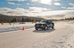 Blue skies and the Nissan Juke at Mecaglisse Ice Track.