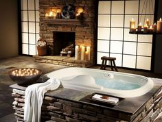 Bathroom:Nice Looking Brick Stone Fireplace For Amazing Asian Style Bathroom With White Sliding Door And White Candle Holder Ideas Bathroom Designs with Fireplaces for Those Who Have a Lot of Money