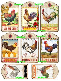 Roosters Roosters and more Roosters Tags Digital by floozieville, $1.00
