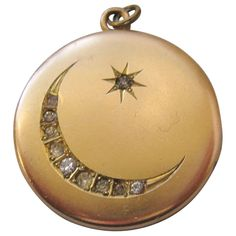 dfe313628 Vintage Gold Filled Moon and Star Locket : Vintage Jewelry Lounge | Ruby  Lane Antique Locket