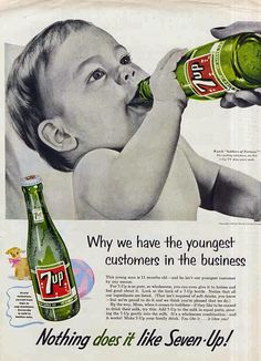 Real vintage ad for 7up - there are some fake photoshopped ones for Heineken