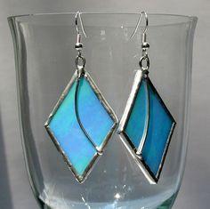 Stained Glass Earrings Iridescent Aqua Blue by LivingGlassArt, via Etsy.