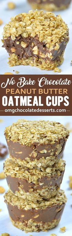 No-Bake Chocolate Peanut Butter Oatmeal Cups have two chewy and buttery oat layers, and melt-in-your-mouth chocolate-peanut butter fudge layer stuffed with crunchy salted peanuts! Peanut Butter Oatmeal Bars, Chocolate Peanut Butter Fudge, Chocolate Oatmeal, Chocolate Peanuts, Chocolate Desserts, Vegan Desserts, Delicious Desserts, Chocolate Cheesecake, Avocado Muffins