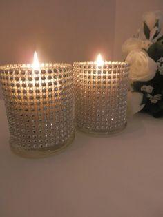 6 Wedding centerpiece Rhinestone glass candle holder by EEBdesigns