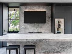kitchen-design-natural-stone-benchtop-liebherr-zip-tap-gaggenau-premier-kitchens-australia-2 Stone Benchtop Kitchen, Stone Kitchen, Kitchen Room Design, Kitchen Interior, Kitchen Furniture, Kitchen Units, Old Kitchen, Kitchen Ideas, Black Kitchens