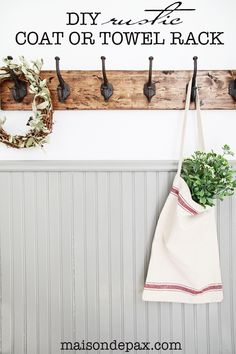 This DIY towel rack is gorgeous! The rustic finish and strong, sturdy hooks make…