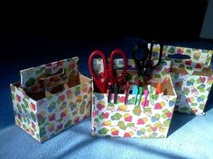 Cover six-pack holders with duct tape to use as supply holders. | 35 Money-Saving DIYs For Teachers On A Budget
