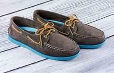 Sperry Top-Sider Grey Suede boat shoes with Neon Soles