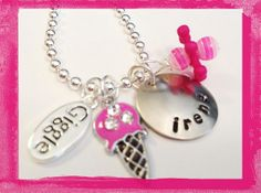 Personalized Necklace - GIGGLE - Hand Stamped Charm Necklace for Girls on Etsy, $20.00