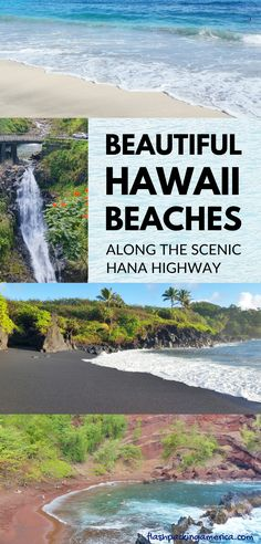 Best Hawaii beaches on Hana Highway near best Road to Hana stops and things to do in Maui. Outdoor beach travel tips. beautiful places for world bucket list, wanderlust inspiration, in the US. Best Beaches In Maui, Best Beaches To Visit, Maui Beach, Maui Hawaii, Beach Trip, Cool Places To Visit, Beach Vacations, Hawaii Vacation, Hawaii Travel