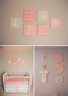 """Gray is dull and boring… or so we thought. As it turns out, gray complimented with a light shade of coral is perfect for this little girl's """"out to sea"""" nursery."""