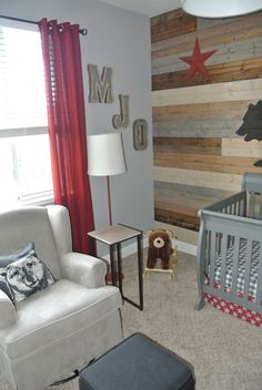 Rustic California themed nursery with woodland touch