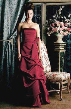 Ruffles Floor-length Reds Satin Bridesmaid #Dress Style Code:00164 $89
