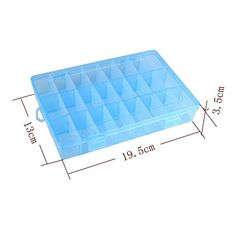 Nice  Yueton® Mini 24 Compartment Slot Adjustable Jewellery Bead Organizer Field Storage Container Case (Blue)