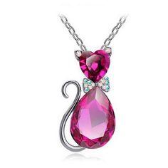 Crystal Cat Pendant Necklace - 9 Colors