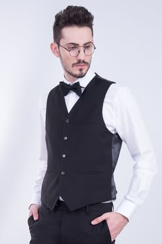 Black Waistcoat In 5 Buttons