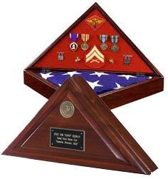 Military veteran burial flag display, made in the USA from solid wood for an American funeral flag.