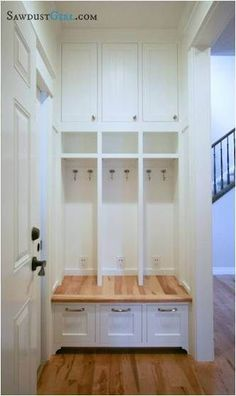 Built in lockers - Little Things Not To Forget When Building…! – Built in lockers Home Renovation, Home Remodeling, Kitchen Remodeling, Small House Renovation, Built In Lockers, Home Lockers, Bench Plans, Desk Plans, My New Room