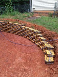 Make a retaining wall using quickcrete