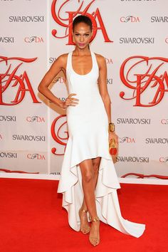 Best Dressed, June 8, 2012: Joan Smalls was a clear winner in this Michael Kors gown she wore to the 2012 CFDA Fashion Awards at Alice Tully Hall in New York City. We're obsessed with the high-low hem in this crisp clean white, complemented by her golden tan and accessories.