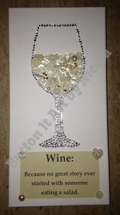 White wine button art canvas