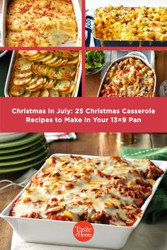 Fresh from the oven, these crowd-sized Christmas in July casseroles are jolly, heartwarming and ready to share. Christmas Brunch, Christmas Wishes, Christmas Recipes, Spinach Casserole, Casserole Recipes, Christmas Casserole, Homemade Stuffing, Herb Stuffing, Homemade Lasagna