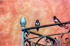 DOS GOLONDRINAS - Oleo sobre lienzo 60x40 cm. - 2013 - Juan Manuel Vargas Vega -                                    Con autorización de Isabel Batista (Portugal), autora de la foto