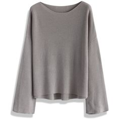 Chicwish Casual Knit Top in Smoke (€49) ❤ liked on Polyvore featuring tops, grey, batwing top, relaxed fit tops, grey knit top, bateau neck top et knit tops