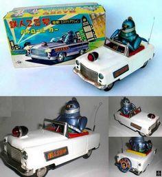 Nomura Tetsujin 28 Patrol Car. Battery Operated tin toy 60s/alphadrome