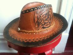 Vintage Tooled Leather Cowboy Hat