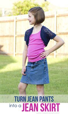 DIY: Turn Jean Pants into a JEAN SKIRT | via Make It and Love It