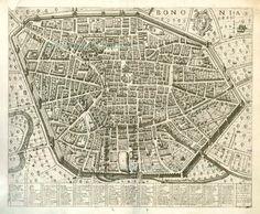 Vintage map of Bologna Bologna map Old map of Bologna print