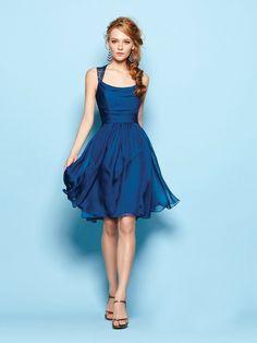 A-line / Princess correas sin mangas Volantes corto / mini vestidos de gasa vestidos de dama de