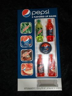 Soda flavored lip gloss/balm - Pepsi wild cherry; Mtn Dew; found these at Walmart before Christmas 2012. Big enough as singles for AG dolls; I removed lipgloss & plastic piece inside, unscrewed bottom piece off (saved for cute Jello mold desserts) making them about the right size for Barbie playscale 2 L bottles! kj