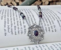 Red Garnet Gemstone Necklace / January Birthstone